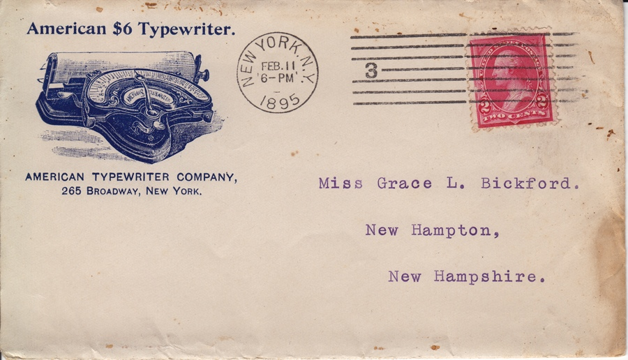 American 1 typewriter envelope dated 1895.