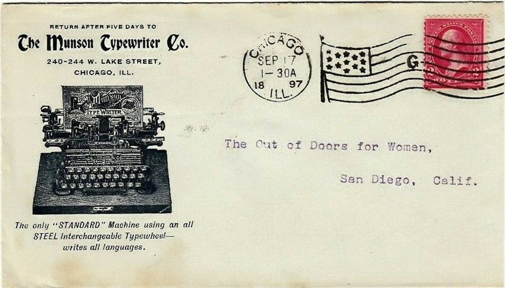 An envelope from 1897 showing a Munson Typewriter.