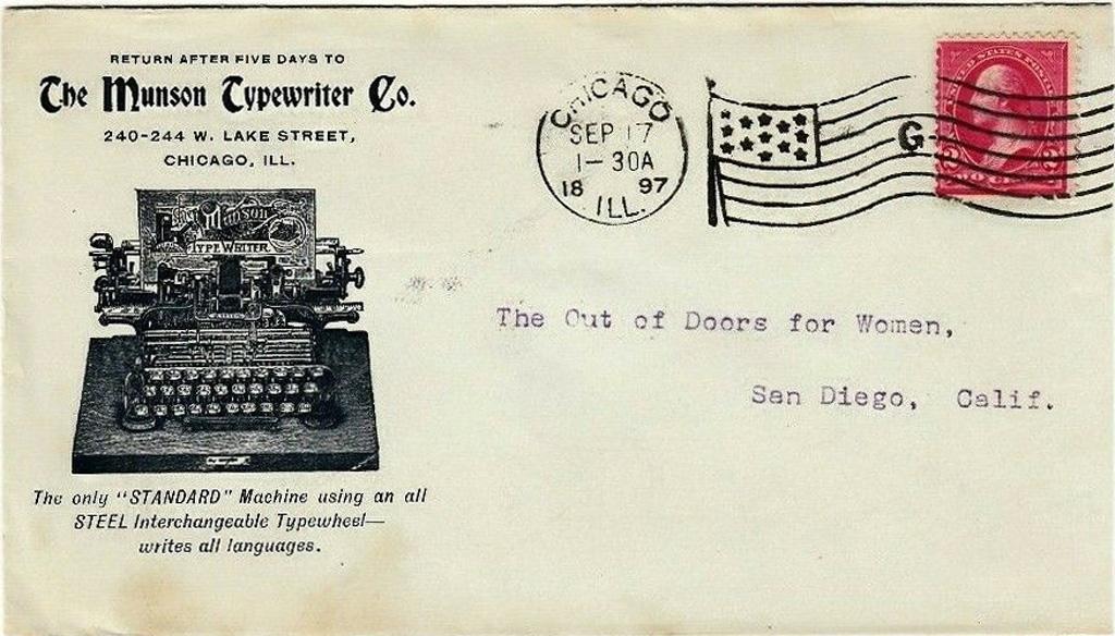 An envelope from 1897 showing a Munson Typewriter.