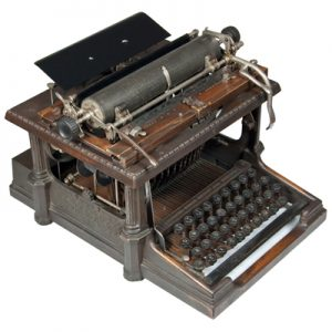 Photograph of the Remington Sholes 1 typewrite.