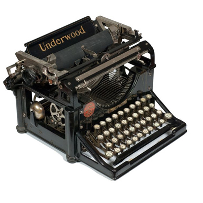 Photograph of the Underwood 1 typewriter.