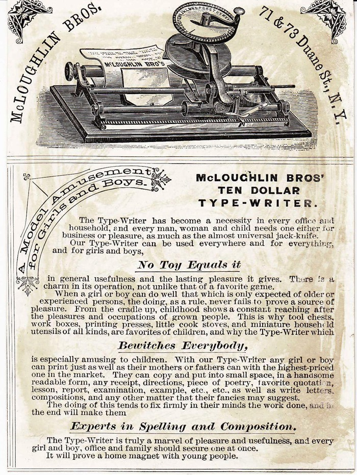McLoughlin Brother's typewriter period advertisement.