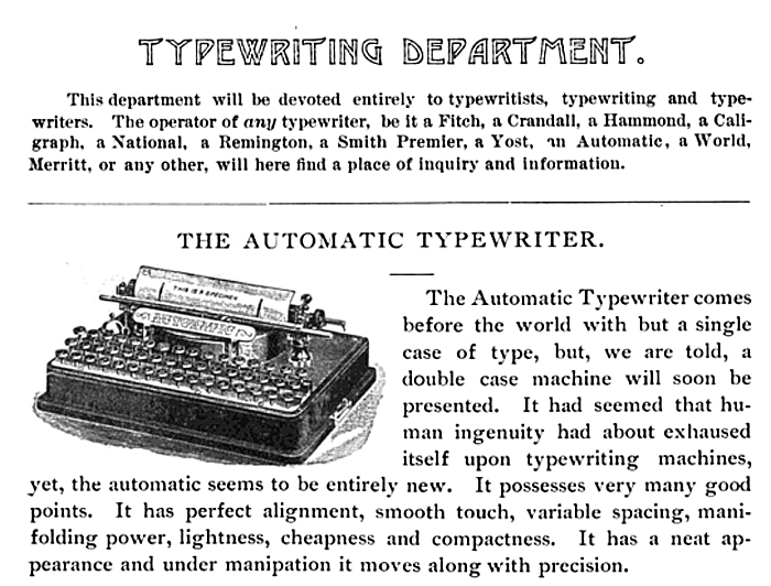 Automatic typewriter period advertisement.