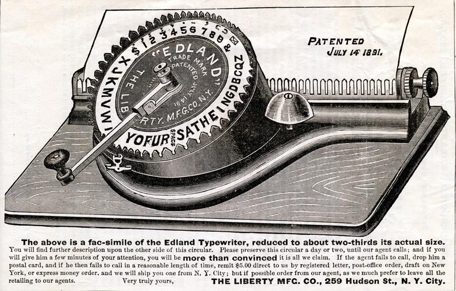 Edland typewriter advertisement dated 1891.