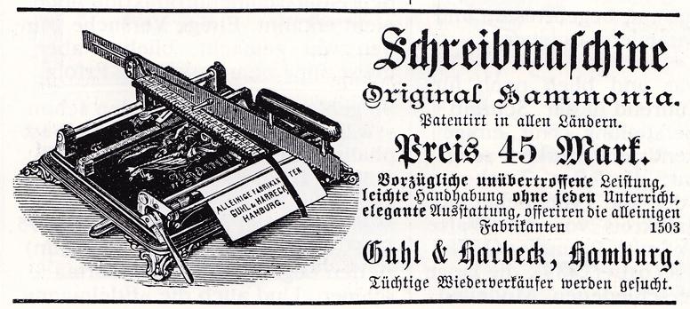 Hammonia Typewriter period advertisement.