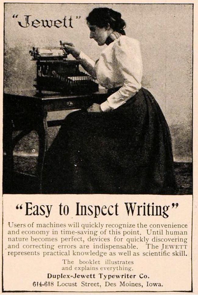 Jewett 1 typewriter period advertisement.