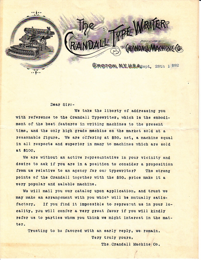 Crandall New Model typewriter letter dated 1892.