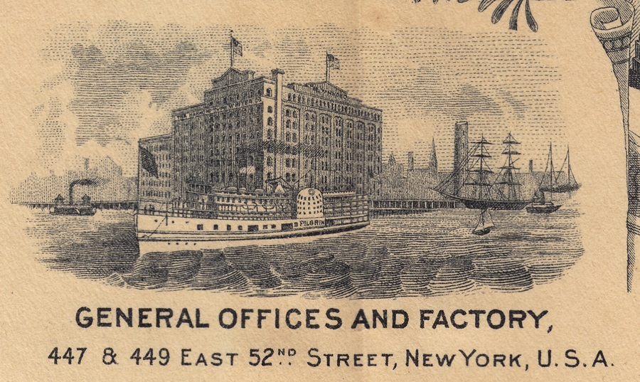 Period illustration of the Hammond typewriter factory in New York city.