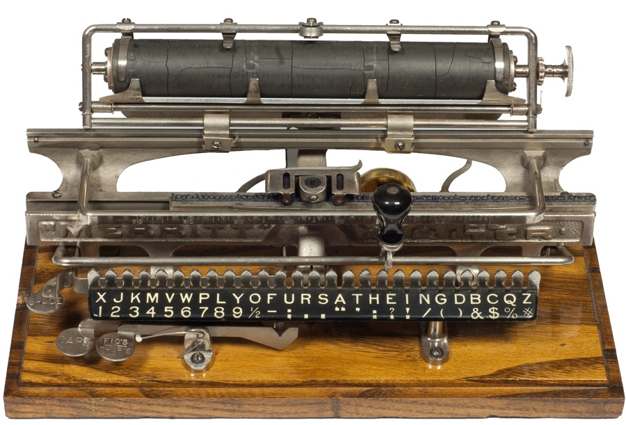 Photograph of the Merrett typewriter with the carriage up.