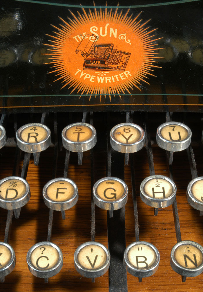 Photograph of the Sun Standard 2 typewriter showing a close up of the amazing sun burst logo.