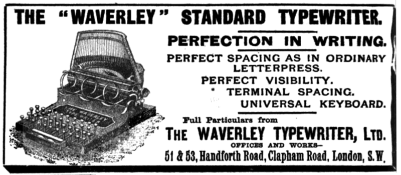 Waverley typewriter period advertisement.