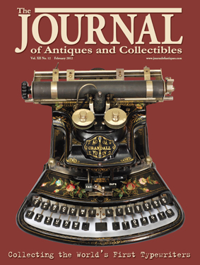 Magazine featuring a cover story about the Martin Howard Collection of antique typewriters.