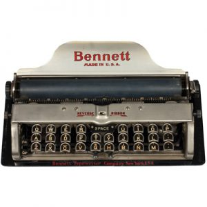 Photograph of the Bennett typewriter.