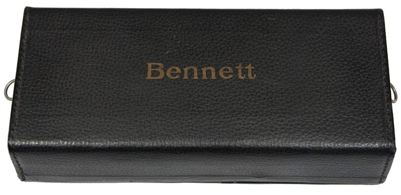 Photograph of the Bennett typewriter's leatherette case.