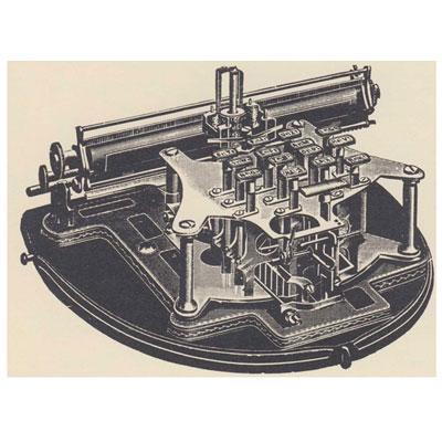 Period illustration of the Gardner typewriter.