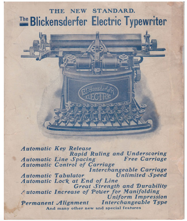 Blickensderfer Electric typewriter period advertisement.