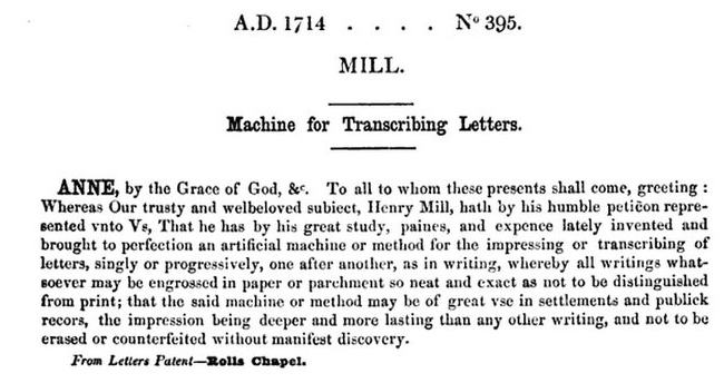 Henry Mills typewriter patent of 1714.
