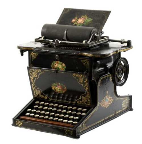 photo of the Sholes & Glidden typewriter 0f 1874