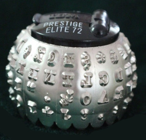 Photograph of the single type element, affectionately nicknamed the golf ball, from IBM's Selectric typewriter of 1961.
