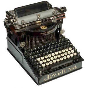Photograph of the Jewett 4 typewriter.