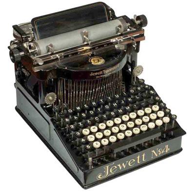 Photograph of the Jewett 4 typewriter.