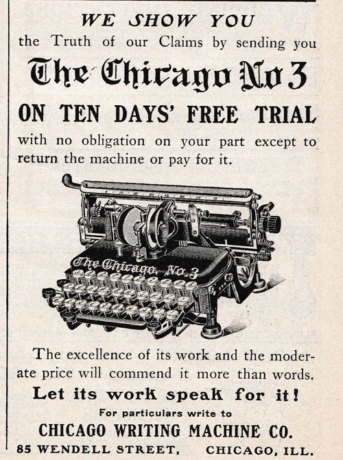 Chicago 3 typewriter period advertisement.