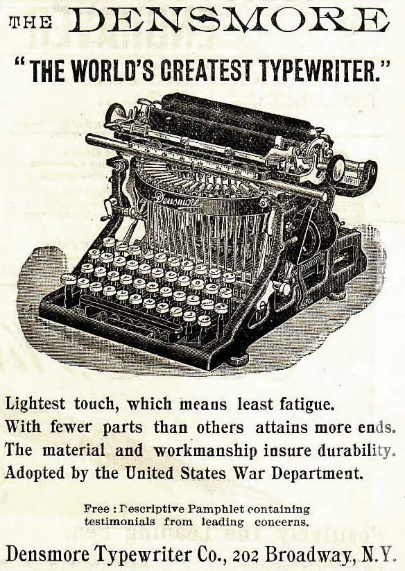 Densmore 1 typewriter period advertisement