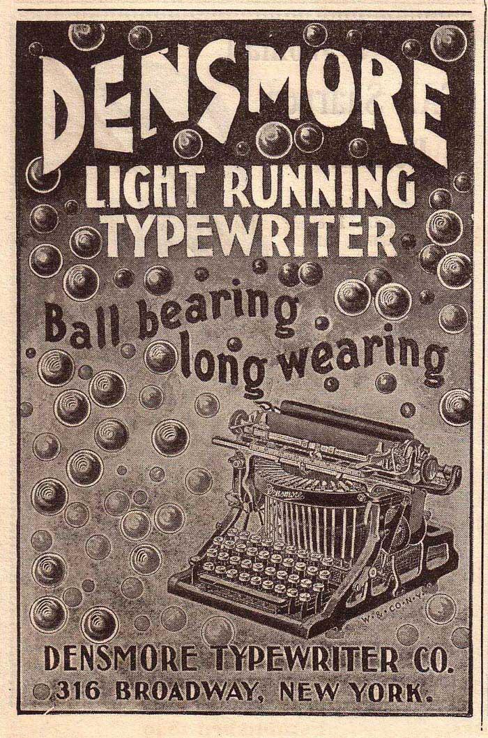 Densmore 1 typewriter period advertisement