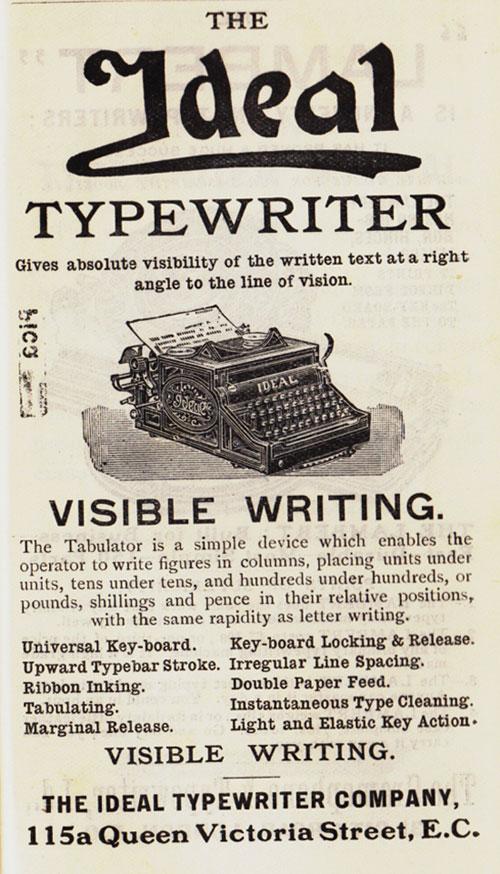 Hartford 2 typewriter period advertisement