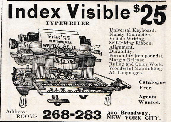 Index Visible Typewriter period advertisement.