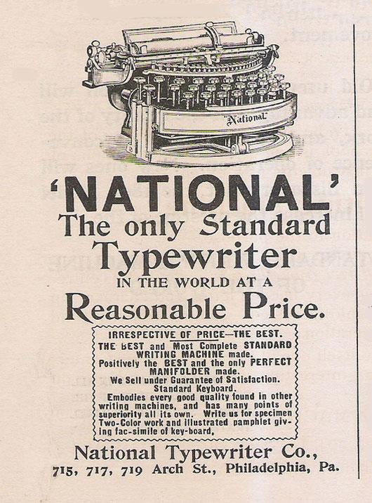 National 2 typewriter period advertisement.