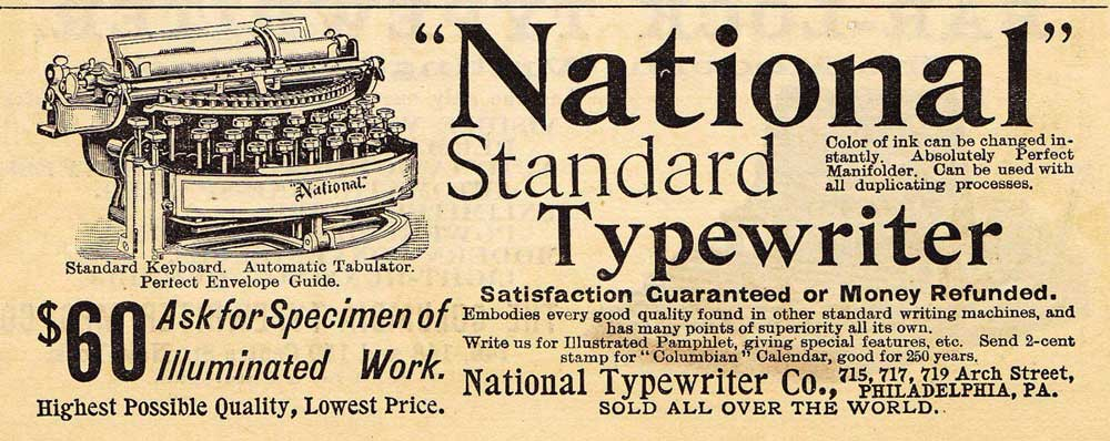 National 2 typewriter period advertisement.