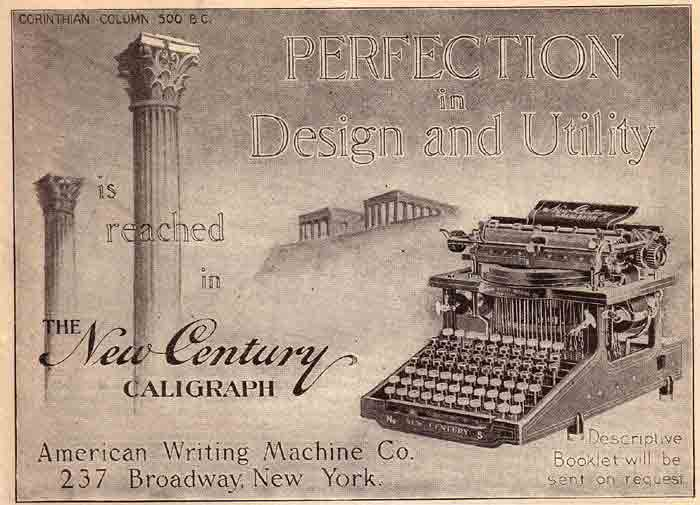 Caligraph - New Century 6 typewriter period advertisement