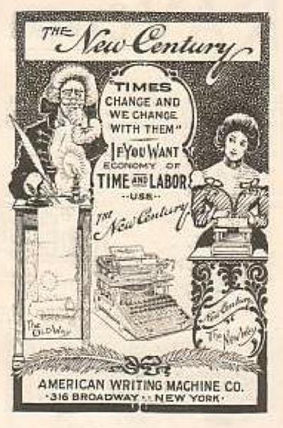Caligraph - New Century 6 typewriter period advertisement