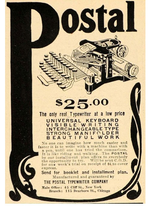 Postal 3 typewriter period advertisement