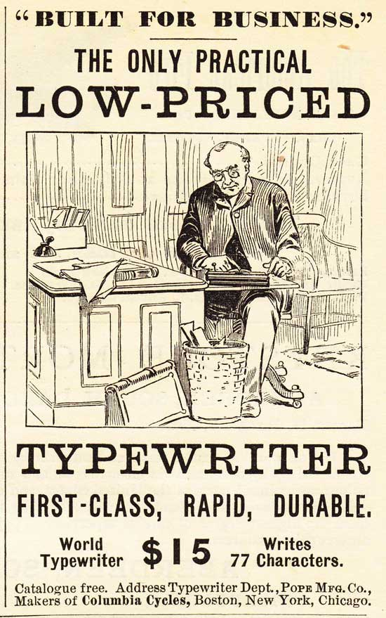 World 1 typewriter period advertisement.