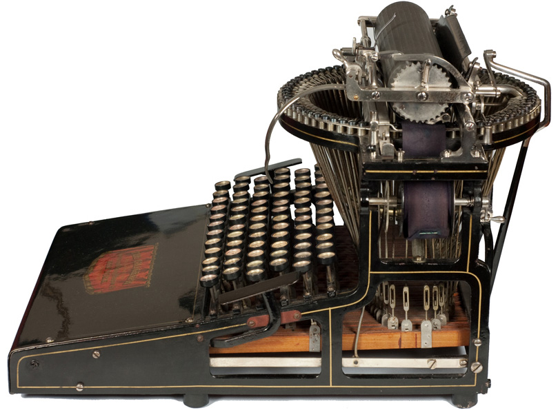 Photograph of the Caligraph 2 typewriter showing the right hand side.