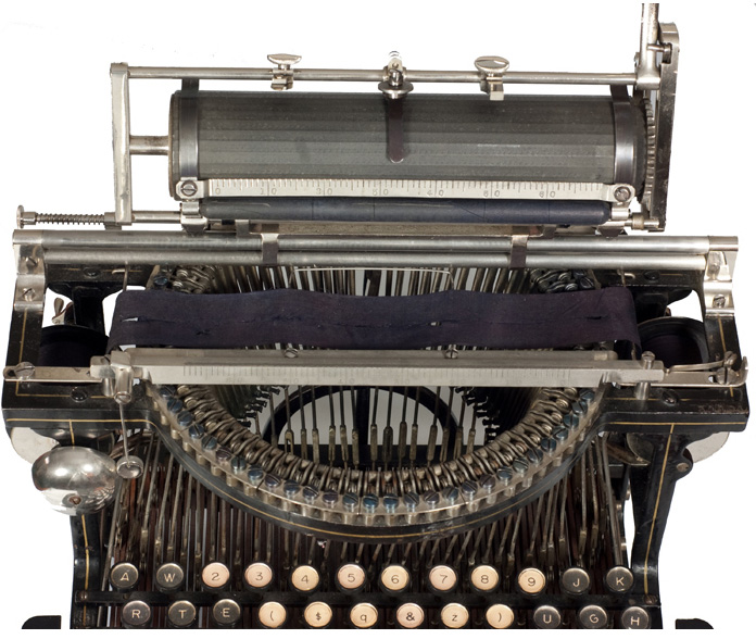Photograph of the Caligraph 2 typewriter with the carriage in the up position.