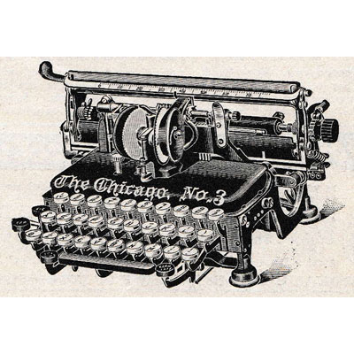 Period illustration of the Chicago 3 Typewriter.