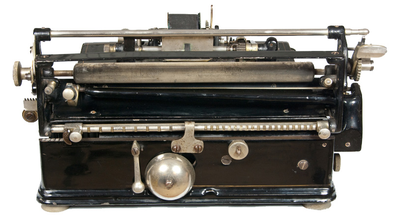 Photograph of the Chicago 1 typewriter showing the back view.