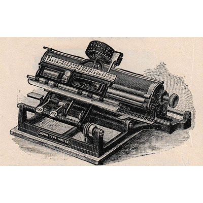 Period illustration of the Crown Typewriter.
