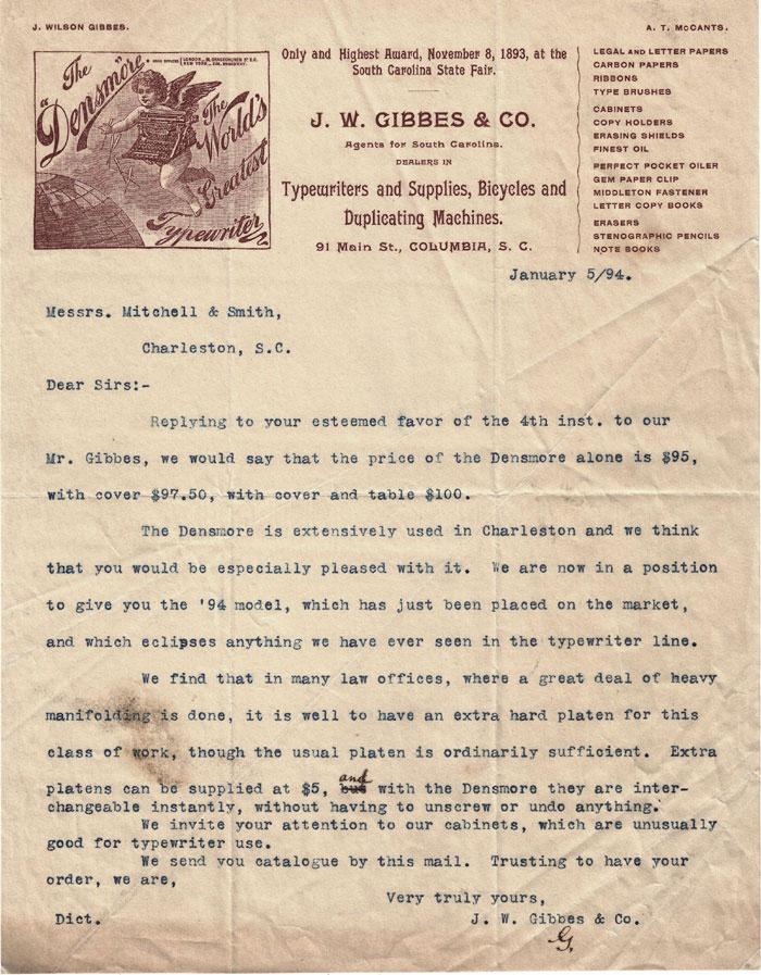 Densmore 1 typewriter letter dated 1894.
