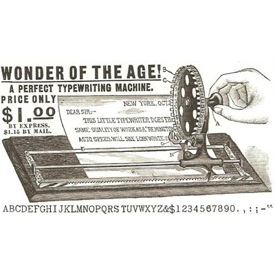 Period illustration of the Dollar typewriter.