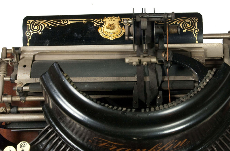 Photograph of the Franklin 7 typewriter from the top.