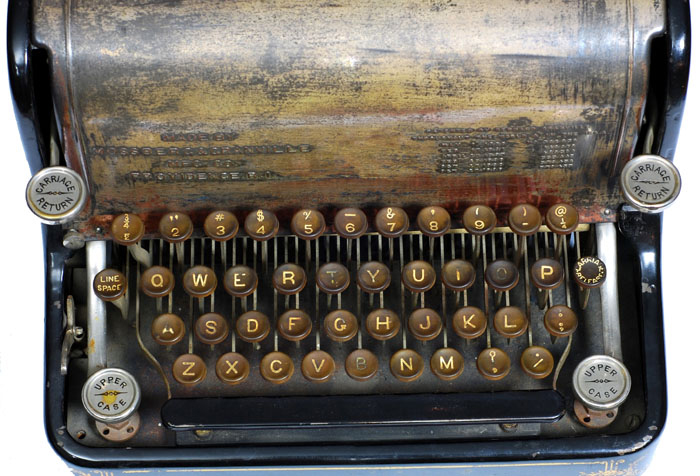 Photograph of the Granville Automatic typewriter showing a close up of the keyboard.