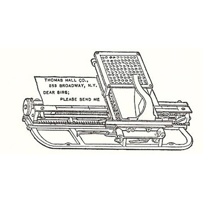 Period illustration of the Hall Century typewriter.