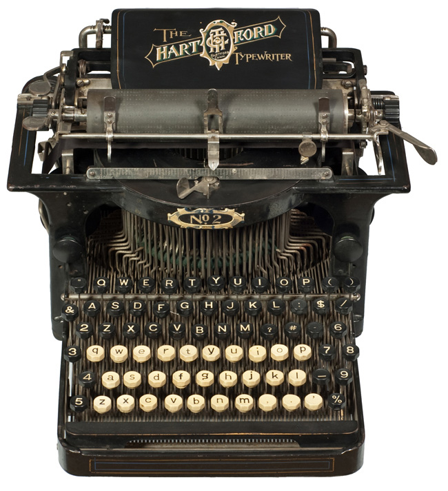 Photograph of the Hartford 2 typewriter from above.
