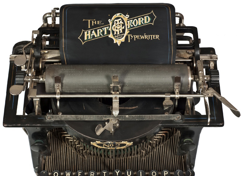 Photograph of the Hartford 2 typewriter showing the top view.