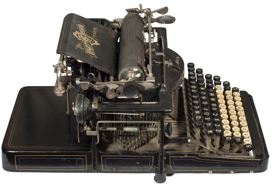 Photograph of the Hartford 2 typewriter showing the left hand side.