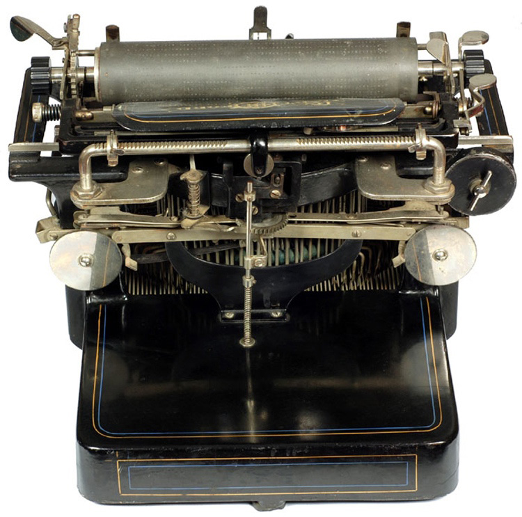 Photograph of the Hartford 2 typewriter showing the back view.